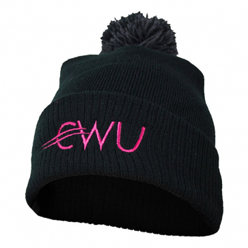 CWU Black Beanie with Bobble
