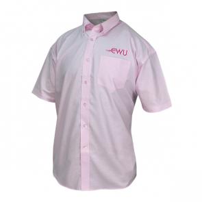 "Mens Short Sleeved Shirt Classic Pink 17"" Collar"